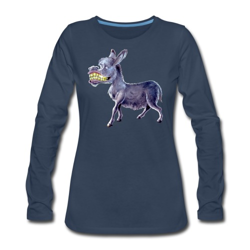 Funny Keep Smiling Donkey - Women's Premium Long Sleeve T-Shirt