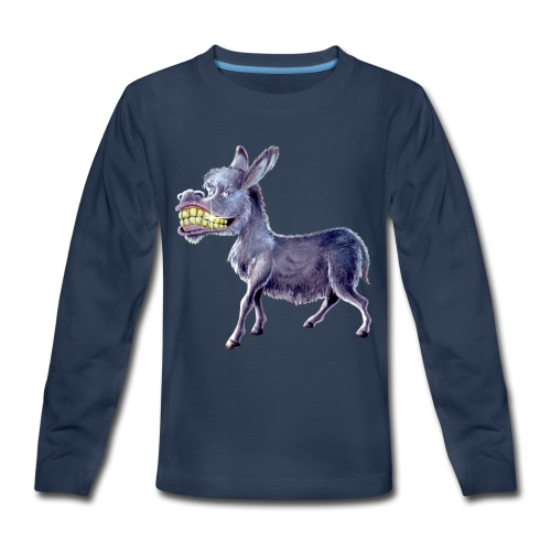 Funny Keep Smiling Donkey - Kids' Premium Long Sleeve T-Shirt