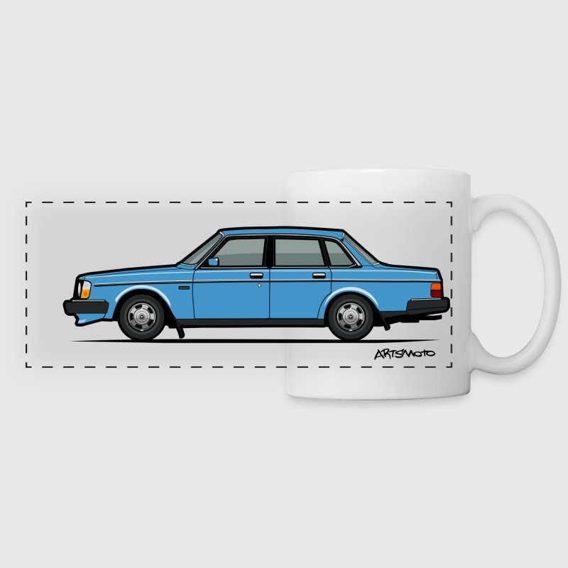 Volvo 240 244 Sedan Blue Sweden Brick Mugs & Drinkware - Panoramic Mug
