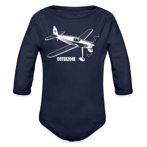Outerzone, white logo - Organic Long Sleeve Baby Bodysuit