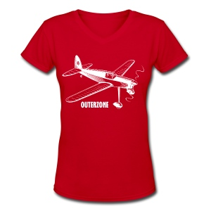 Outerzone, white logo (women) - Women's V-Neck T-Shirt