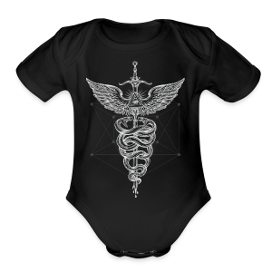 Caduceus-White - Short Sleeve Baby Bodysuit