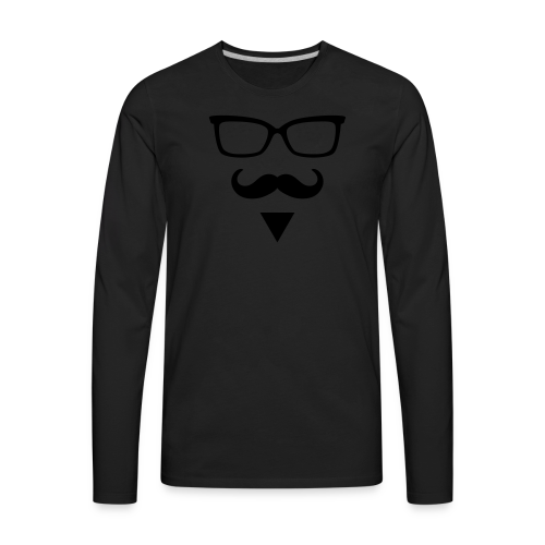 Hipster Sunglasses triangle Face Mustache Beard - Men's Premium Long Sleeve T-Shirt
