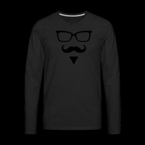 Hipster Sunglasses triangle Face Mustache Beard - Men's Premium Long Sleeve T-Shirt