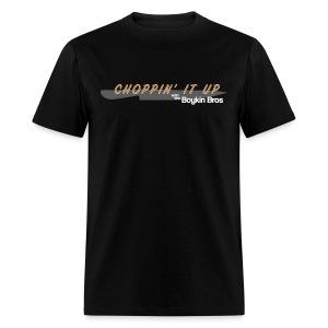 Boykin Bros. Choppin' it up w/ Logo on back - Men's T-Shirt