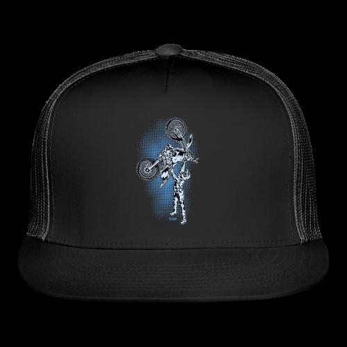 Blue Halftone Motocross - Trucker Cap
