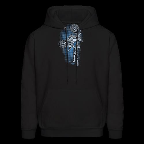 Blue Halftone Motocross - Men's Hoodie