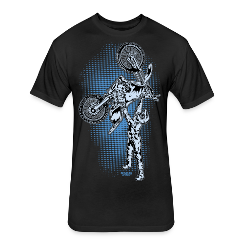 Blue Halftone Motocross - Fitted Cotton/Poly T-Shirt by Next Level