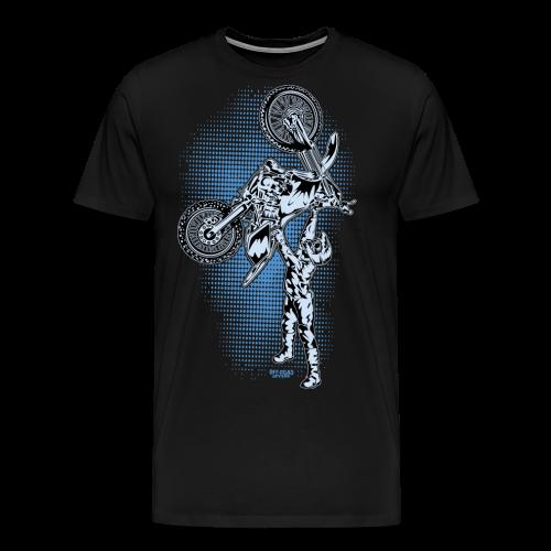 Blue Halftone Motocross - Men's Premium T-Shirt