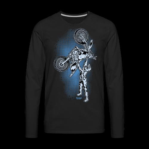 Blue Halftone Motocross - Men's Premium Long Sleeve T-Shirt