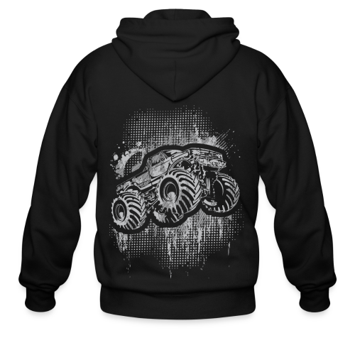 Monster Truck Grungy - Men's Zip Hoodie