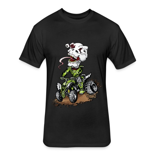 ATV Crazy Skully Kawasaki - Fitted Cotton/Poly T-Shirt by Next Level