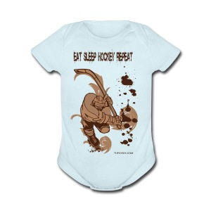 Eat Sleep Hockey Repeat - TC - Short Sleeve Baby Bodysuit