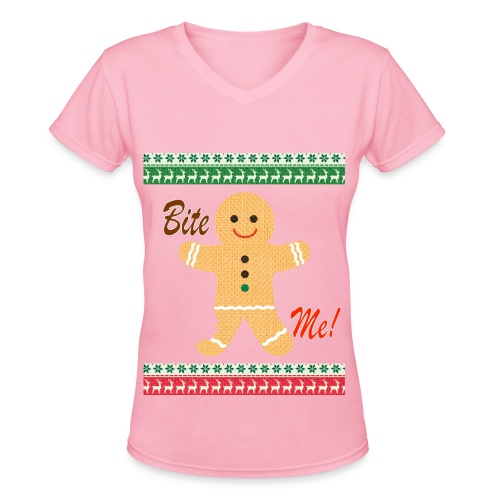 Ugly Christmas Sweater Funny T shirt - Bite Me Shirt -Womens - Pink - Women's V-Neck T-Shirt