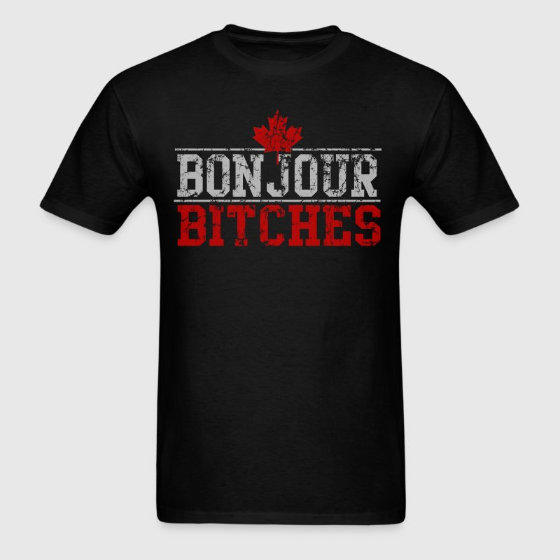 Vintage Bonjour Bitches Canadian T-Shirts - Men's T-Shirt