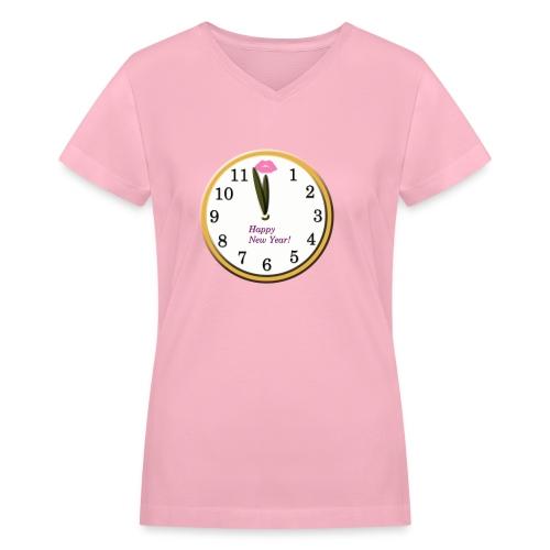 Happy New Year Clock - Women's V-Neck T-Shirt
