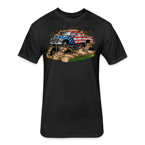 Mud Truck USA - Fitted Cotton/Poly T-Shirt by Next Level