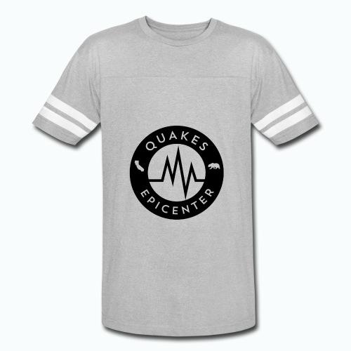 Quakes Epicenter Logo Black - Mens Colorblock Hoodie - Vintage Sport T-Shirt