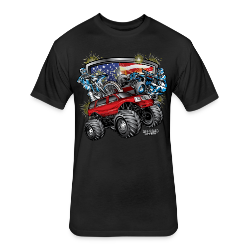 4th of July Monster - Fitted Cotton/Poly T-Shirt by Next Level