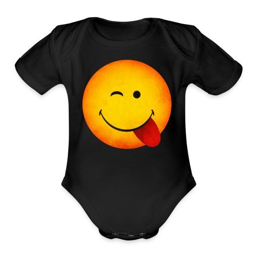 Silly Wink Emoji Kid's T-Shirt - Organic Short Sleeve Baby Bodysuit