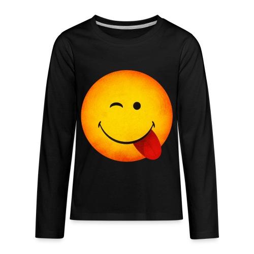 Silly Wink Emoji Kid's T-Shirt - Kids' Premium Long Sleeve T-Shirt