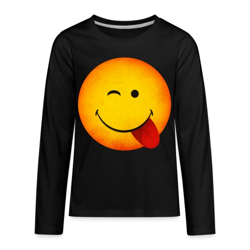 Silly Wink Emoji Kid's T-Shirt - Kids' Premium Long Sleeve T-Shirt