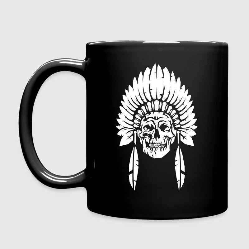 Skull with indian headdress Mugs & Drinkware - Full Color Mug