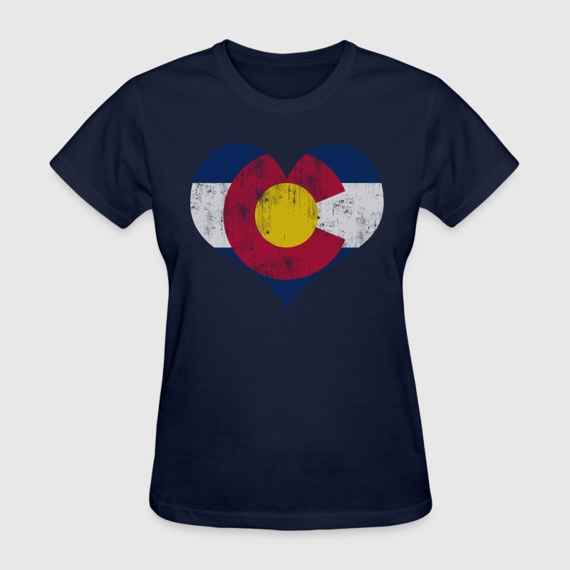 Vintage Fade Colorado Flag Heart Women's T-Shirts - Women's T-Shirt