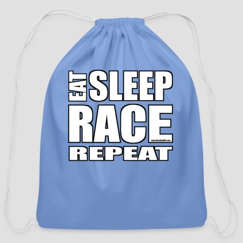 Eat Sleep Race Repeat T-Shirt - Cotton Drawstring Bag