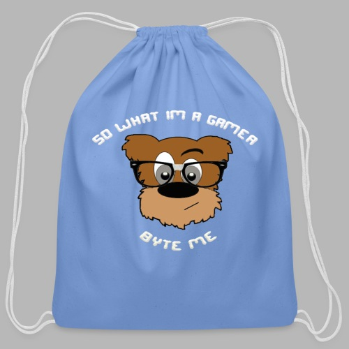 Nerdy Bear So What (White)  - Cotton Drawstring Bag
