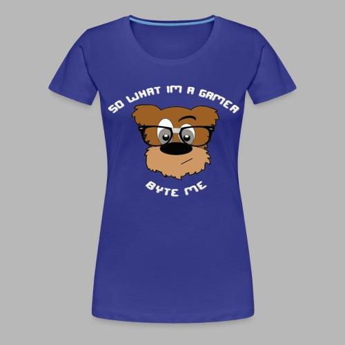 Nerdy Bear So What (White)  - Women's Premium T-Shirt