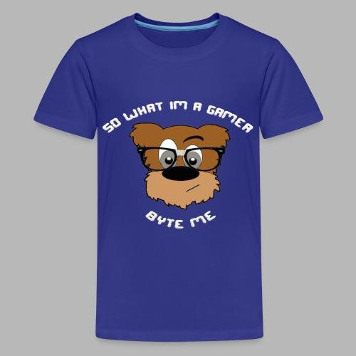 Nerdy Bear So What (White)  - Kids' Premium T-Shirt