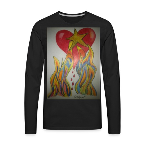 Men's Twin Flame Tee (Black) - Men's Premium Long Sleeve T-Shirt