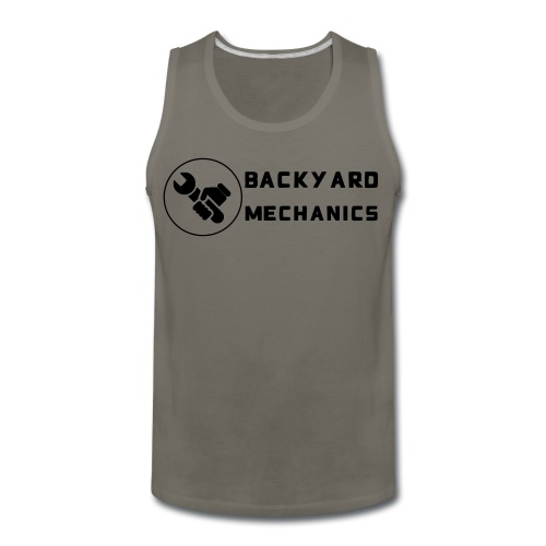 Mens Backyard Mechanics sideways white - Men's Premium Tank