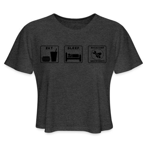Mens EAT SLEEP BM spanner logo - Women's Cropped T-Shirt