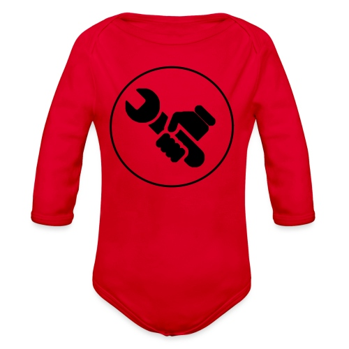 Mens Spanner White - Organic Long Sleeve Baby Bodysuit