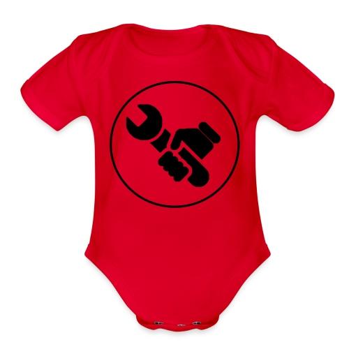 Mens Spanner White - Organic Short Sleeve Baby Bodysuit