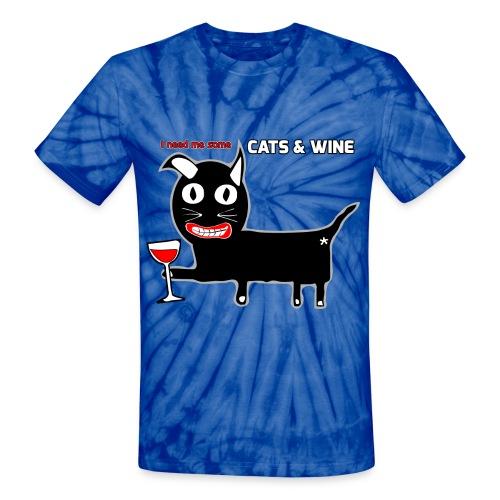 Cats & Wine Woman's T-Shirt - Unisex Tie Dye T-Shirt