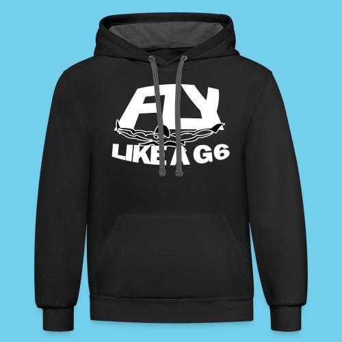 Fly like a G6- Men's Sweatshirt- Design Front- Rear mini logo - Contrast Hoodie