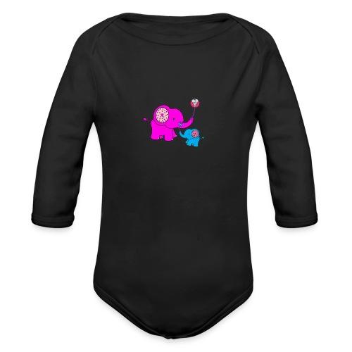 Valentine Elephant - Organic Long Sleeve Baby Bodysuit