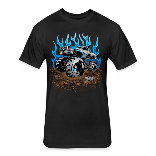 Blue Flame Mud Truck - Fitted Cotton/Poly T-Shirt by Next Level