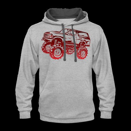 Red Mega Ford Bronco Shirt - Contrast Hoodie