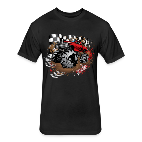 Red Race Mega Truck - Fitted Cotton/Poly T-Shirt by Next Level