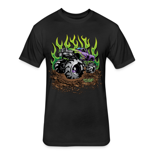 Green Flame Mud Truck - Fitted Cotton/Poly T-Shirt by Next Level