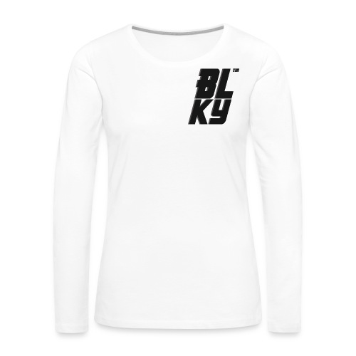 Blucky Chest Logo Womens [White] - Women's Premium Long Sleeve T-Shirt