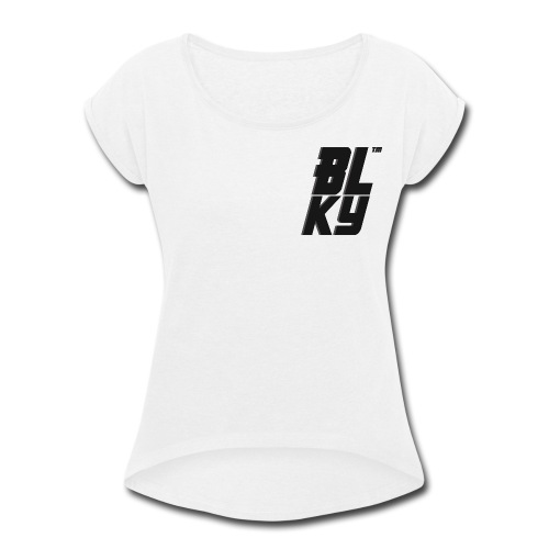 Blucky Chest Logo Womens [White] - Women's Roll Cuff T-Shirt