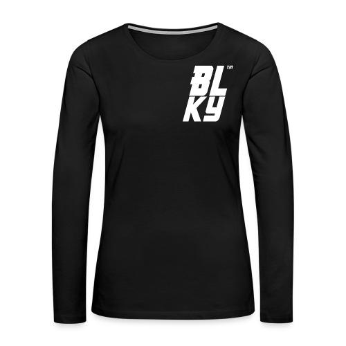 Blucky Chest Logo Womens [Black] - Women's Premium Long Sleeve T-Shirt