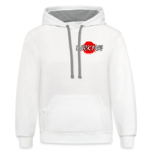 Logo Brush White/Red | Faux Pocket - Contrast Hoodie