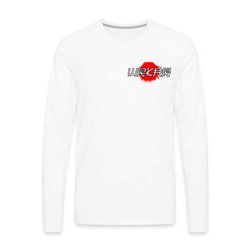 Logo Brush White/Red | Faux Pocket - Men's Premium Long Sleeve T-Shirt