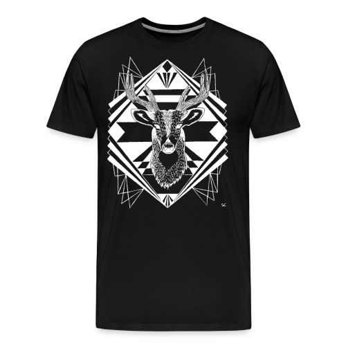 Men's Premium T-Shirt - woodsy,vintage,rustic,printing,original art,northwest,hippie,hip,geometry,geometric,forest dweller,forest animal,forest,flowy,eclectic,earthy,deer head,deer,buck,boho,artsy,art deco,art & design,antlers,Hipster